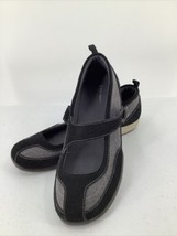 Lands End Mary Janes Black Gray Size 9.5 Slip On Womens Shoes - $14.01