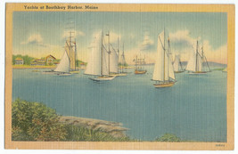 Boothbay Harbor Yachts Boats Linen Vintage Postcard - $9.95