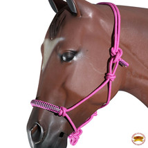 Pink Horse Halter Braided Poly Rope Crystal Accents Tack By Hilason U-A412 - $19.79