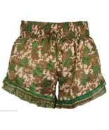 Green One Size Women Short Vintage Recycle Sari Lounge Sleep Wear India ... - $18.05