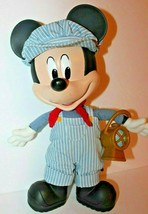 Disney Store Mickey Mouse Talking Train Conductor Plush Pull String Works - $23.10