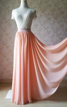Coral Chiffon High Waist Full Maxi Skirt Coral Pink Wedding Chiffon Skirts image 1