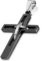 Flongo Men's Vintage Stainless Steel Hollowed Dual Cross Pendant Necklac... - $20.20
