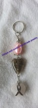 "Breast cancer awareness glass quartz metal 3"" handmade key ring - $2.79"