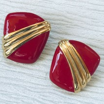 Estate Monet Signed Red Enamel with Goldtone Stripes Clip Earrings – mar... - $10.39