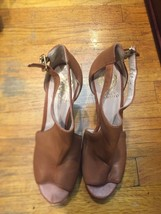 Vince Camuto Tan Leather Wedge Heels Metal Gold Studs Platform Peep-toe Size 9 - $46.71
