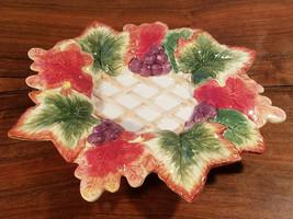 "Fitz and Floyd Classics Autumn Splendor CANAPE Plate 9"" Lattice Grapes L... - $19.75"