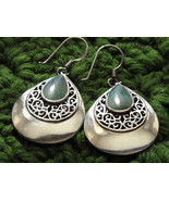 Earrings Sterling Silver 925 Malachite In Filigree Pierced Fish Hook Wir... - $28.95