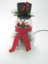"10"" Crackle Glass Snowman in Top Hat on Crackle Glass Lighted Holiday Decor Lamp - $26.68"