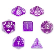 Polyhedral Dice Set, Purple Glitter Translucent 7 Polyhedral Dice, Velve... - $14.99