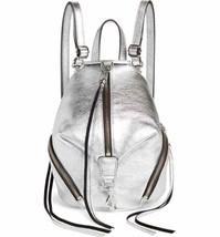 Nwt Rebecca Minkoff Julian Mini Leather Convertible Backpack Bag Silver Authentc - $156.00