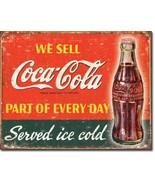 Coca Cola Coke Served Ice Cold Metal Sign Tin New Vintage Style USA #1820 - $9.85