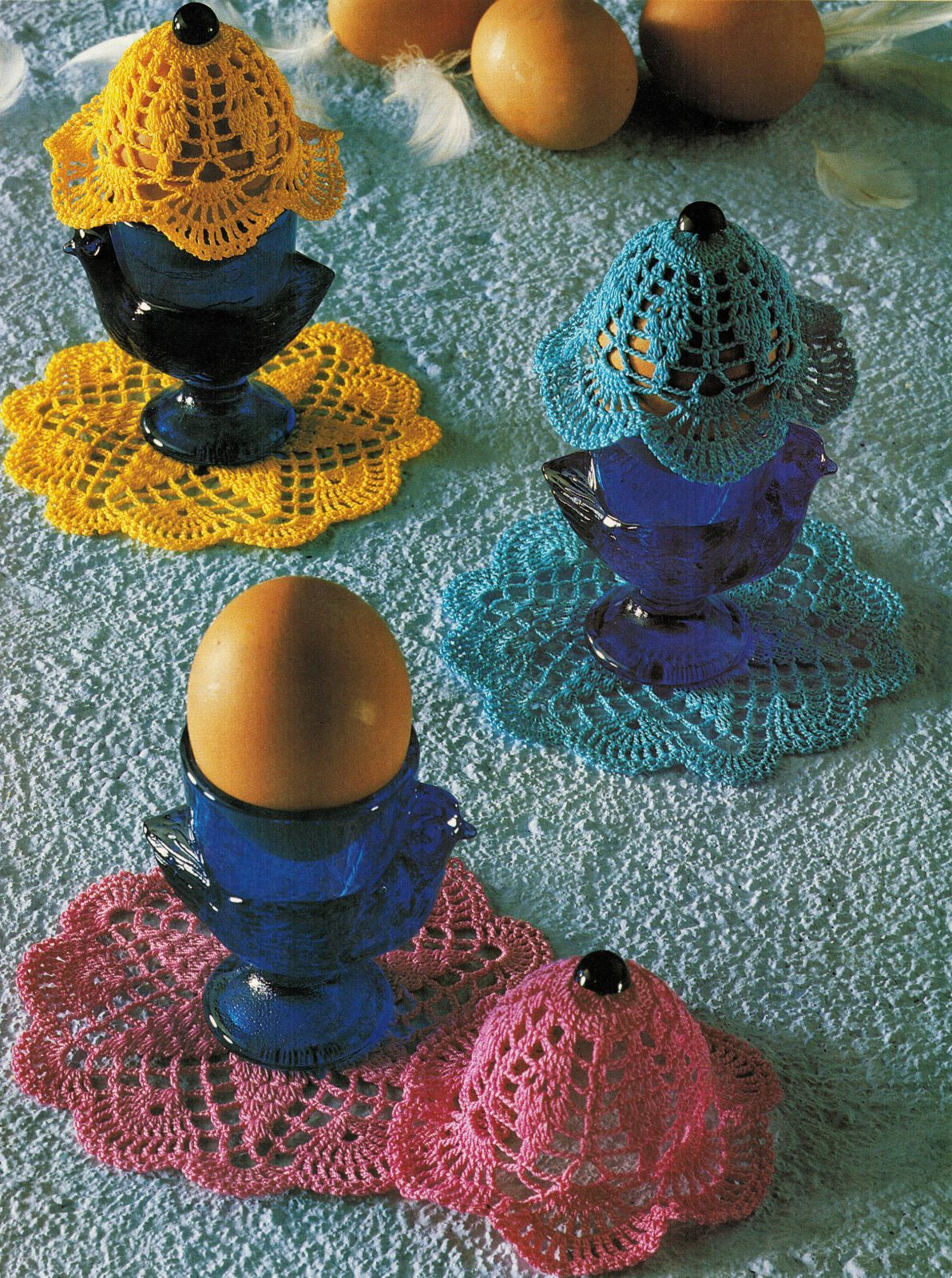 Round Table Placemats Centerpiece Hot Pad Coaster Egg Warmers Crochet Patterns - $8.99