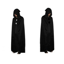 Hooded Halloween Cloak Velvet Medieval Robe Long Witch Cape Wizard Costu... - $9.95