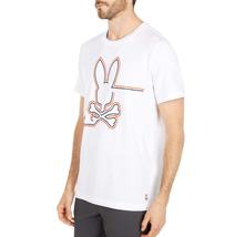 Men's Psycho Bunny Shirt Freeport Graphic Tee Striped Logo White T-shirt image 5