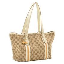 GUCCI Sherry Line GG Canvas Tote Bag White Orange Auth 9335 - $150.00