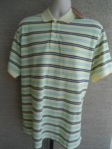 NWT Mens Izod Cotton Pique Knit S/S Polo Shirt XL Yellow Multi $38.msrp - $19.62