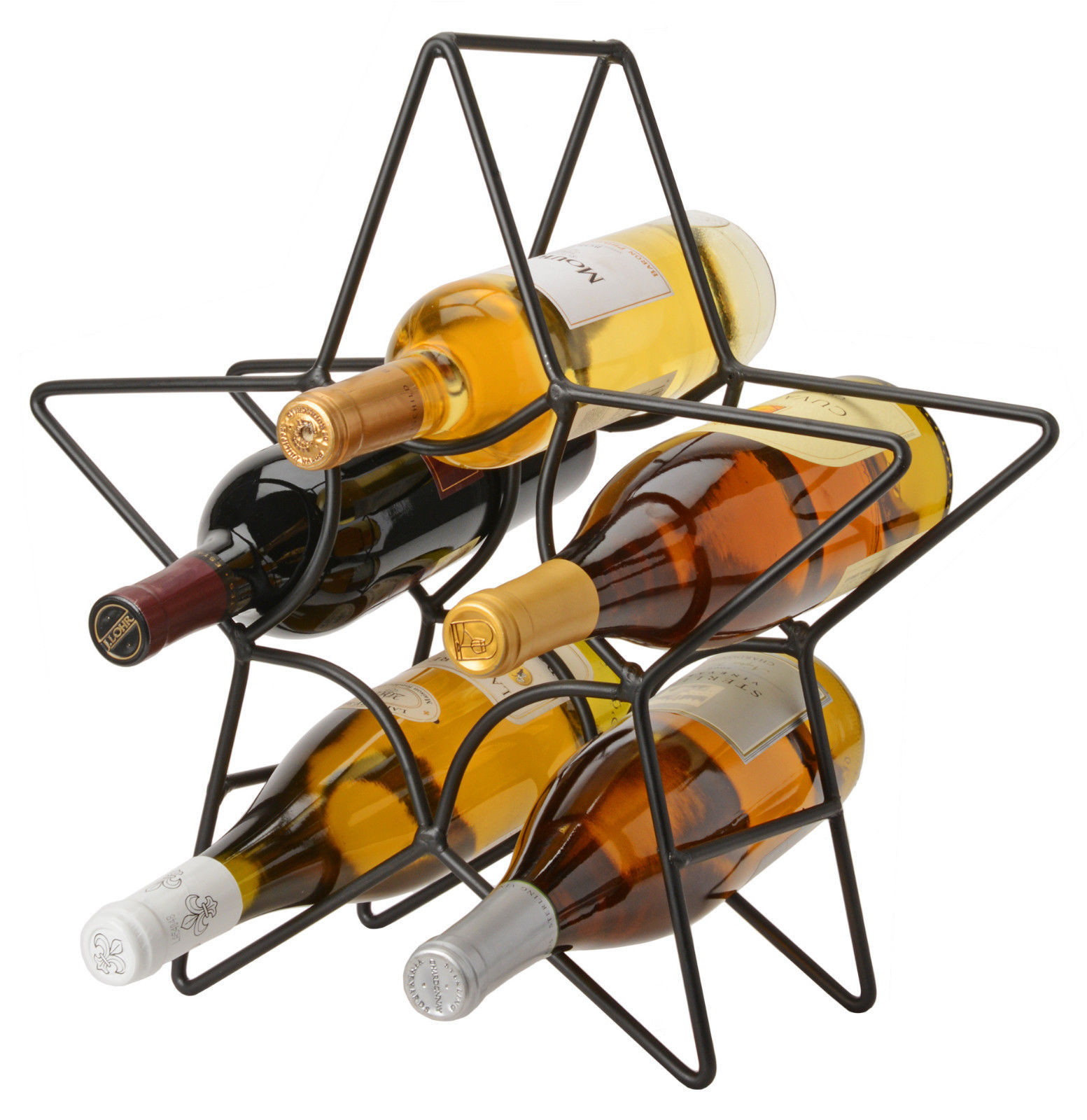 6 WINE BOTTLE HOLDER Amish Hand Forged Wrought Iron Star Table Counter Rack USA - $49.47