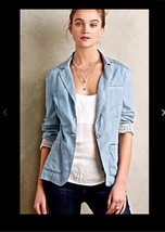 Anthropologie Pilcro & the Letterpress Newsy Chambray Blazer Jacket Size... - $34.64