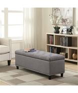 Linen Bedroom Storage Ottoman Bench Footrest, Grey, 48-inch  - $377.00