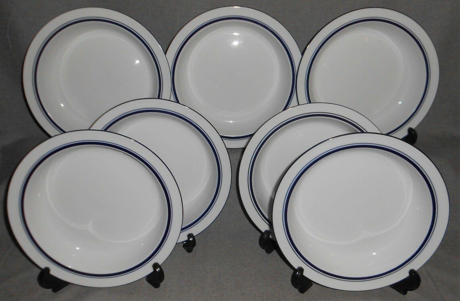 Set (7) Dansk Bistro CHRISTIANSHAVN BLUE PATTERN Rimmed Soup Bowls PORTUGAL - $89.09