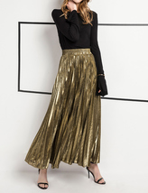 SILVER SKIRT Pleated Skirt Women High Waisted Full Pleated Party Skirt US0-US18 image 11