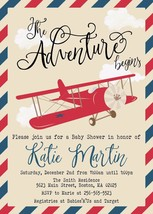 Vintage Airplane Baby Shower Invitation Personalized biplane red blue Cu... - £7.72 GBP