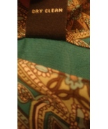 Valerie Stevens Green/Blue Printed Long Skirt Size 16 Side Zipper ABLS053 - $12.87