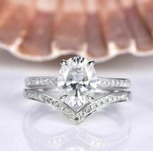 Engagement Wedding 3.10Ct White Oval Cut Diamond Bridal Ring Set White G... - $106.99