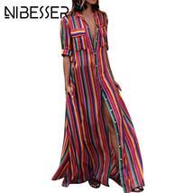 Women Summer Beach Maxi Dress 2019 Sexy High Split Sundress Fashion Colo... - $19.95+