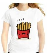 BFF Hamburger Chips Cola T-Shirt Best Friends 3 Forever Women White Casu... - $38.88