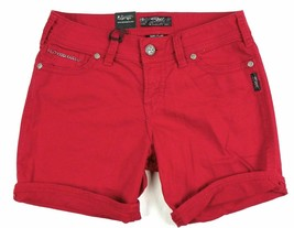 Silver Jeans Co. Shorts Junior Women's SUKI Flap Denim Short Mid-rise Curvy Red