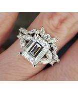 3.25Ct Emerald Cut White Diamond Engagement Bridal Ring Set 925 Sterling... - $93.15