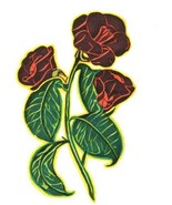 original drawing red roses green leaves flowers abstract art ink markers... - $27.99