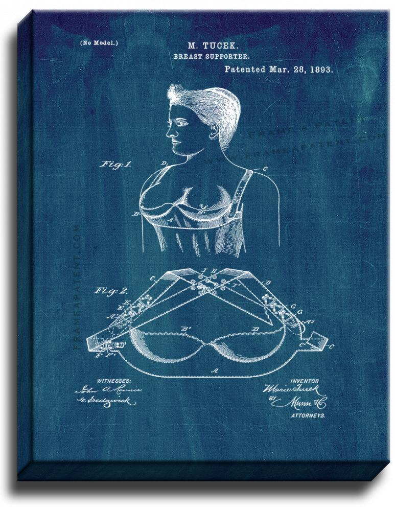Primary image for Breast Supporter Patent Print Midnight Blue on Canvas