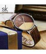 SK® Watches High Quality Women Watches Wood Leather Watch For Girl Japanese - $28.08