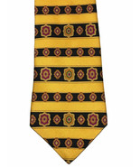 Tommy Hilfiger Tie Golden Yellow Striped, Geometric Flowers Silk USA Nec... - $9.89