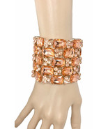 "2.75"" W Intense Peach Crystals Luxurious Bracelet Pageant Drag Queen Got... - $30.73"