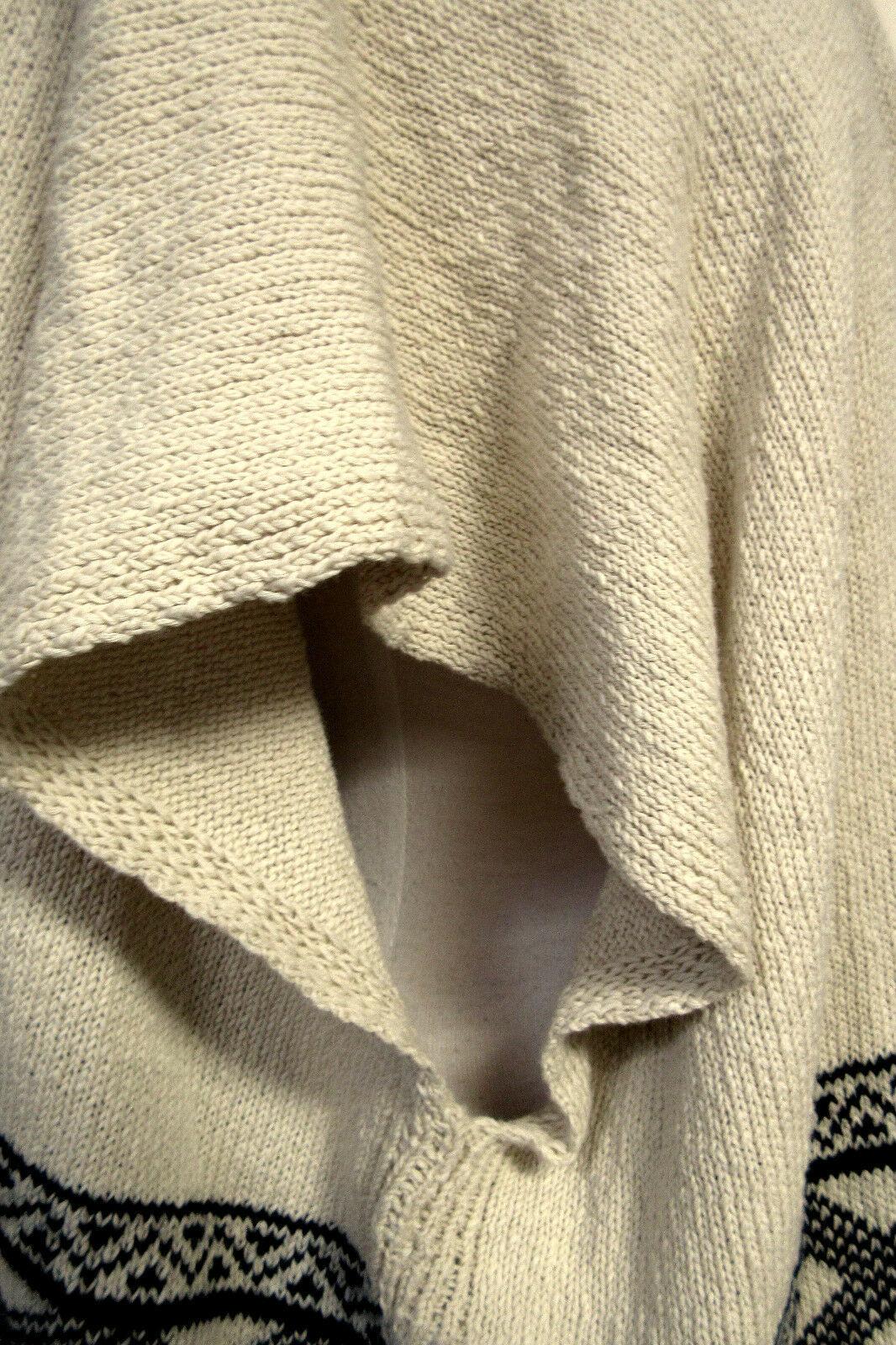 AMERICAN RAG Oversized Open Front Sweater Vest Southwest Print Fringed FLAW Sz M image 4