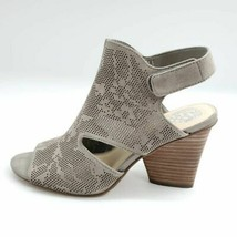 Vince Camuto Womens Dachelle Sandals Gray Leather Hook Loop Block Heels 9 M - $48.50