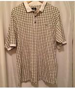 Givenchy Vintage 90s Mens Activewear golf polo Brown club Print Cream Ta... - $18.59