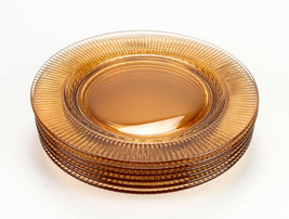 Fostoria Edme Amber Luncheon Plates 6 pc Set, Vintage 2348 Laurel Ribbed... - $58.80