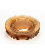 Fostoria Edme Amber Luncheon Plates 6 pc Set, Vintage 2348 Laurel Ribbed... - $58.80