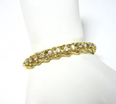 Tennis Bracelet, Clear Rhinestone Bracelet, 1980's Chain Link, Gold Tone... - $18.00