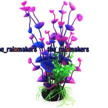 Aquarium Plastic Plant Fish Tank Artificial Decoration Purple 5x18cm - $12.99