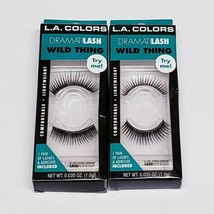 """Lot Of 2 L.A. Colors DramatiLASH Eyelash Kit """"Wild Thing"""" Lashes With Ad... - $13.75"""