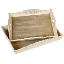 Brown Set Of 2 Wooden Country Trays - $62.09