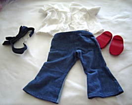 """White Top Blue Jeans Headband Shoes  Fits 18"""" Doll American Girl Our Ge... - $14.99"""