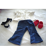 "White Top Blue Jeans Headband Shoes  Fits 18"" Doll American Girl Our Ge... - $14.99"