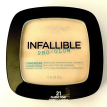 L'Oreal Infallible Pro Glow Longwear Pressed Powder ~ # 21 Classic Ivory - $16.44